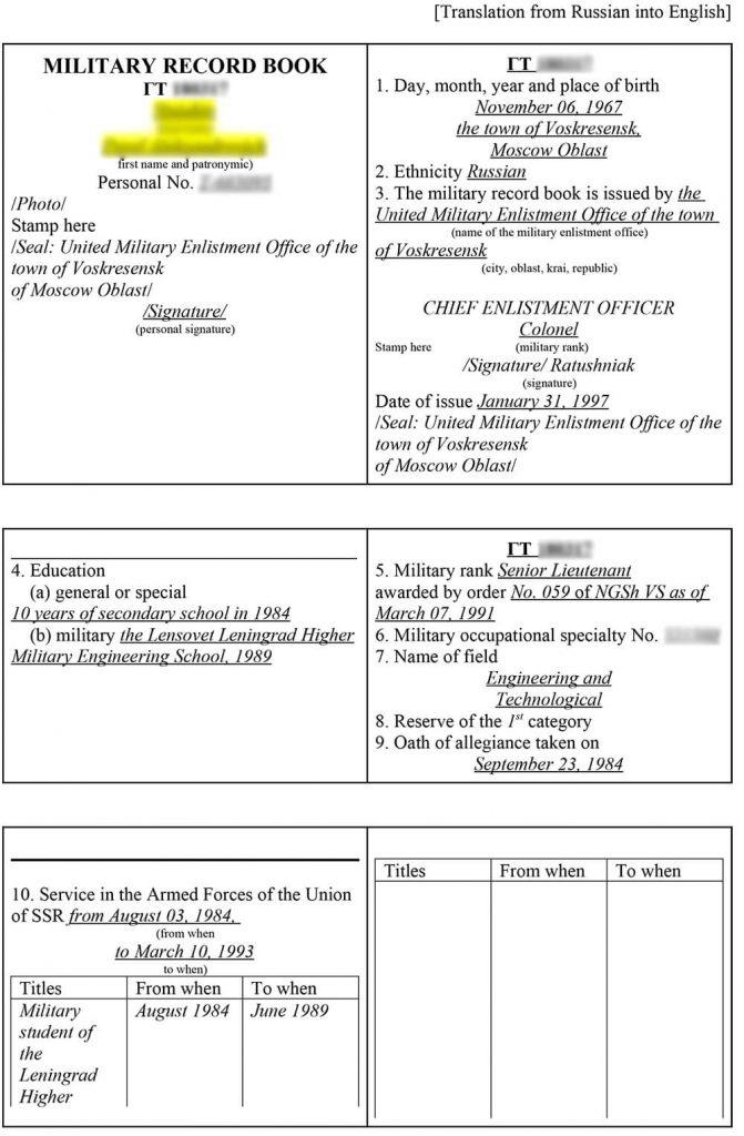 Перевод военного билета