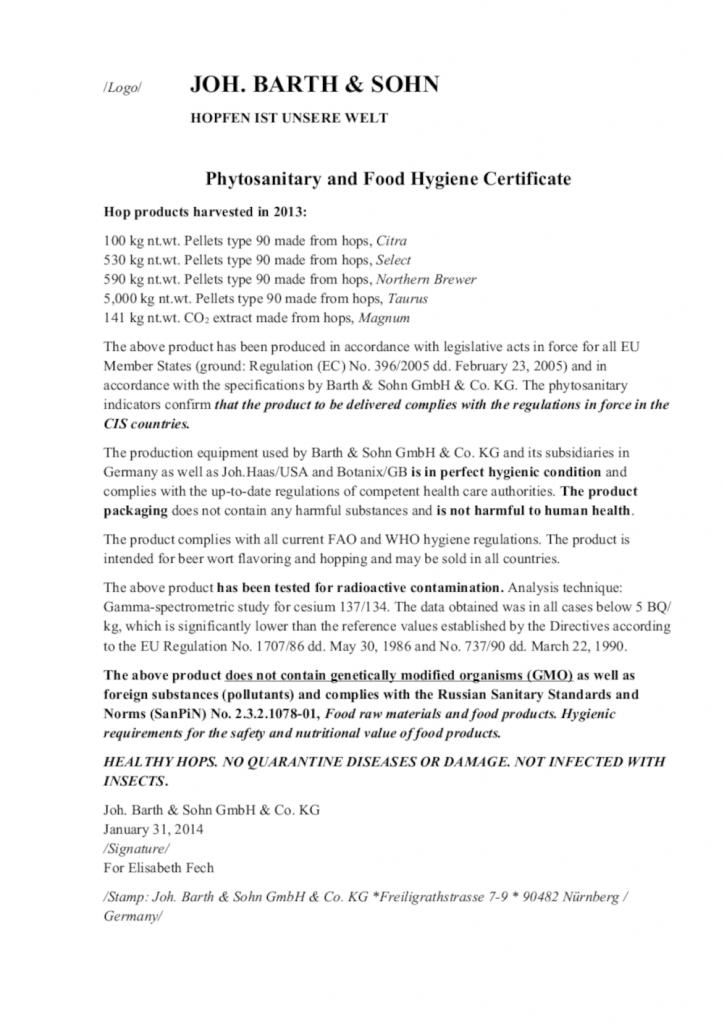 Перевод сертификата происхождения